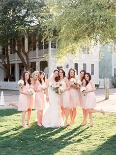 sweet florida wedding with bridesmaids in blush dresses from @BHLDN