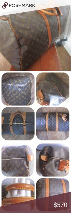 "Auth. Louis Vuitton Keepall 55 Travel Duffle Preowned. Good condition. Interior is nice and clean. Monogram canvas is in good condition. Please view all photos carefully, as they are an essential part of the description. Date code: MI Dimensions: 22"" length, 9.8"" depth, 11.4"" height. Includes Louis Vuitton luggage tag and handle keeper. Price is firm. No trades or paypal. Louis Vuitton Bags Travel Bags"