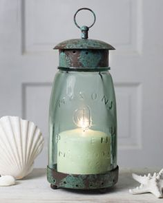 Quart mason jar lamp. Available at www.shabbyshedprimitives.com
