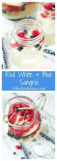 A patriotic twist on Sangria this colorful red, white and blue sangria with raspberries, blueberries and apples is perfect for the 4th of July!