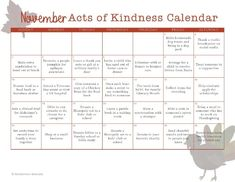 Lots of fun random acts of kindness ideas based on the holidays and special celebrations of the month. Print off this November acts of kindness calendar to do them together as a family. Kindness Activities, Family Activities, Kindness Ideas, Journal Prompts, Journal Ideas, Kindness Challenge, November Calendar, Calendar Journal, Visiting Teaching