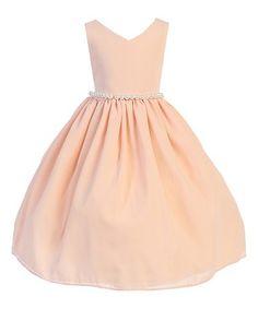 Loving this Peach Pearl-Waist Dobby Dress - Toddler & Girls on #zulily! #zulilyfinds
