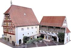 This building paper model is the Eselmühle (Donkey Mill) in Wangen, created by Ausschneide Bogen. There are 1:87 (H0) and 1:160 (N Scale) three scale versi