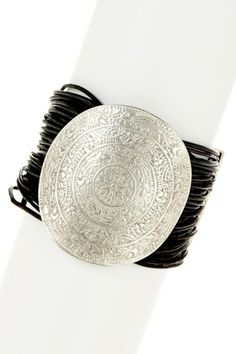 Medallion Leather Cord Bracelet by Chanour Jewelry on @HauteLook