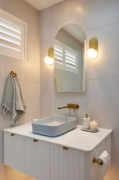Kirsty and Jesse's guest ensuite on The Block 2021 is a calming blue and white compact bathroom. Timber Vanity, Toilet Suites, Compact Bathroom, Beacon Lighting, Terrazzo Flooring, Lighting Design, Wall Lighting, Classic Bathroom, Vanity Units