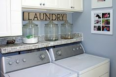 Like the large glass jars. Already planning to add cabinetry along with other organizational-decor ideas.