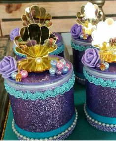 Mermaid Parties, Birthday Decorations, Under The Sea, Centerpieces, Mermaid Birthday, Decorated Boxes, Table Centerpieces, Table Decorations, Center Pieces