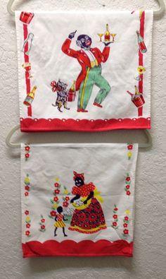 Vintage Black Americana Tea Towel Dish Towel Set Aunt Jemima with Child, Amos with Dog