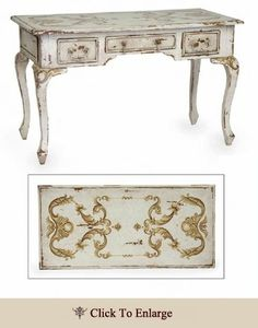 Cabriole Writing Desk (Signature Antique White with Hand-Painted European Scroll Artwork)