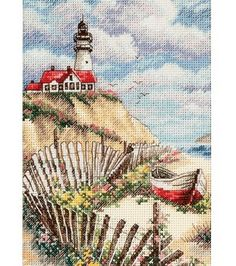Dimensions Gold Collection Petite Cliffside Beacon Cntd X-Stitch Kit