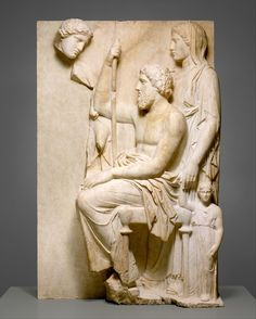 Marble grave stele with a family group Period: Late Classical Date: ca. 360 B. Culture: Greek, Attic Medium: Marble, Pentelic Dimensions: H. cm) Classification: Stone Sculpture Credit Line: Rogers Fund, 1911 Accession Number: Classical Greece, Classical Period, Classical Art, Architecture Classique, Art Et Architecture, Greek Artifacts, Ancient Artifacts, Greek History, Art History