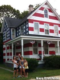 They were told they could not hang a flag so they painted the house as a flag. Gotta love it. Cambridge, Maryland
