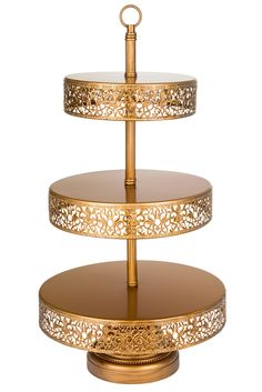 3-Tier Reversible Dessert Stand | Gold | Victoria Collection