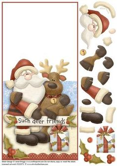 DEER FRIENDS CHRISTMAS OVER THE EDGE CARD on Craftsuprint designed by Janet Briggs - Quick and easy card for christmas. This sheet creates an over the edge card with additional decoupage elements which can be used to add depth if required. Features Nitwits Santa and his deer friend.Sentiment tag on the card front reads 'Such deer friends'.  - Now available for download!