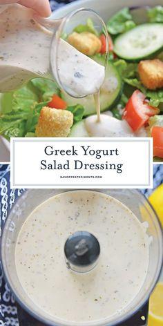 Yogurt Salad Dressing - Greek Salad Dressing - With flavors of lemon and garlic, this Greek Yogurt Salad Dressing is light, creamy and delicious! -Greek Yogurt Salad Dressing - Greek Salad Dressing - With flavors of lemon and garlic, t. Greek Yogurt Salad Dressing, Yogurt Salad Dressings, Best Greek Salad, Creamy Salad Dressing, Salad Dressing Recipes, Creamy Greek Dressing Recipe, Low Fat Salad Dressing, Garlic Vinaigrette Dressing Recipe, Clean Salad Dressings