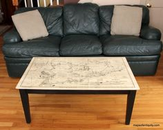 First example of our custom made made tables displays Chart C, Eldridge's Nautical Chart, pigment imprinted into hardwood coffee table, $650.00.  Each #map table# is handcrafted.  Other maps, sizes and colors can be made to fit your decor.