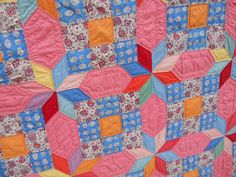 Antique 1930s 8 Point Star Quilt w 9 Patch Tumbling Blocks Hand Quilted Colorful | eBay