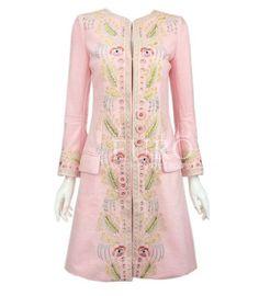 Womens Elegant Gold Line Rhinestones Floral Wool Blend Coat Slim Long Stage Coat