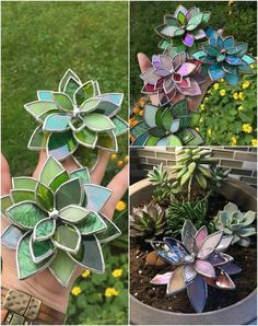 Making Stained Glass, Stained Glass Flowers, Faux Stained Glass, Stained Glass Designs, Stained Glass Projects, Stained Glass Patterns, Stained Glass Windows, How To Do Stained Glass Diy, Glass Cactus
