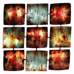 Multicolor metal wall art with nine attached panels.  Product: Wall decorConstruction Material: MetalColo...