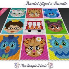 Daniel Tiger Bundle C2C Crochet Graph | Craftsy Crochet C2c, Graph Crochet, Pixel Crochet, Manta Crochet, Crochet Blanket Patterns, Baby Blanket Crochet, Crochet Hooks, Crochet Baby, Cross Stitch Patterns