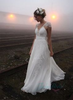 JOL224 Airy flare lace cap sleeves flowy chiffon boho wedding dress