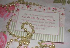 Convite Floral Rosa e verde
