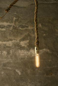 Chandelier Lighting Rustic Wedding Lighting Industrial Hanging Light Hanging Lamp - Rustic Rope Design