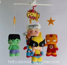 Baby Mobile, Nursery Decor, Superhero Mobile, Superhero, Felt Mobile, Cot Mobile, Wolverine, Thor, Captain America, Hulk. Iron Man BB