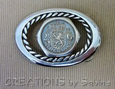 Handmade Belt Buckle with 2 1/2 Guilders Coin Insert, Netherlands 1960, Stainless Steel, Oval, Twisted Wire, Welded READY TO SHIP. $85.00, via Etsy.