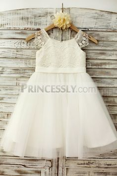 Lace Cap Sleeves Ivory Tulle TUTU Flower Girl Dress