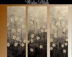 """SALE Reserved for Reine 3 Panel Gallery canvas abstract Modern 36"""" palette knife Impasto floral Oil painting by Nicolette Vaughan Horner"""
