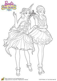 Coloriage du film Barbie et la porte secrète, Romy et Nori ensembles - Hugolescargot.com