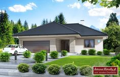 Projekt domu Oaza, wizualizacja 1 Simple Bungalow House Designs, Modern Bungalow House, Modern House Design, My House Plans, Modern House Plans, Family House Plans, Outside House Paint, Front House Landscaping, Beautiful House Plans