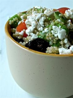 Quinoa Greek Salad - Yum can't wait to try this but I think I'll just add low fat Greek dressing because its a must have in my fridge and flavour from that point if needed!!
