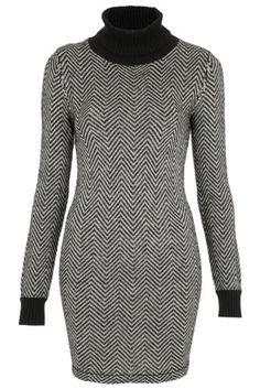 TOPSHOP Monochrome Chevron Knitted Jumper Dress