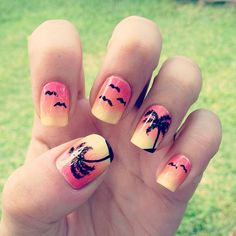 Beautiful Sunset topped with Palm Trees and Seagulls. Super Cute! Perfect for the Summer!