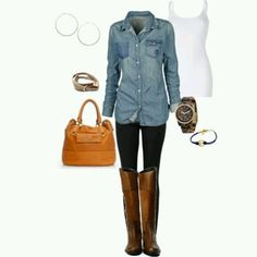 Denim shirt and boots perfect for fall