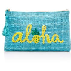 KAYU Aloha Clutch (282.155 COP) ❤ liked on Polyvore featuring bags, handbags, clutches, blue, straw purse, blue purse, tassel handbags, kayu and tassel purse