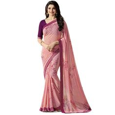 Bollywood New Indian Designer Georgette Printed Saree & Blouse Flowers Fashion #FlowerFashion #PartyWear
