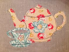 CRAFTY RED: A Free Motion Embroidery Teapot and cup