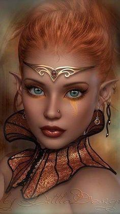 f Wood Elf Sorcerer Necklace Circlet portrait lg Fantasy Girl, Foto Fantasy, Fantasy Art Women, Beautiful Fantasy Art, Beautiful Fairies, Elfen Fantasy, Bel Art, Digital Art Girl, Digital Art Fantasy