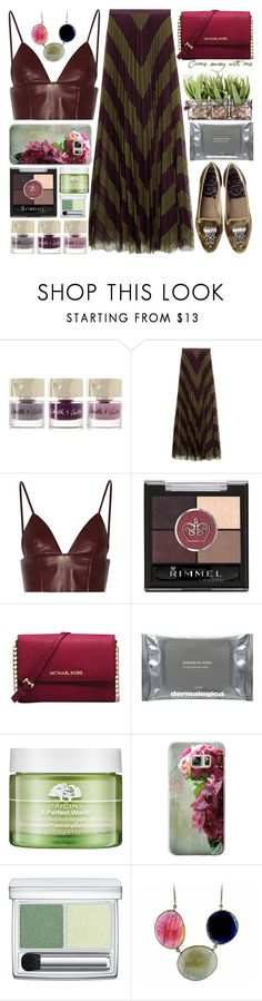 """pleated maxi skirt"" by barbarela11 ❤ liked on Polyvore featuring Smith & Cult, Mary Katrantzou, T By Alexander Wang, Dolce&Gabbana, Rimmel, Michael Kors, Dermalogica, Origins, Casetify and RMK"