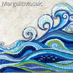 sea waves mosaic, Ocean mosaic by MargalitMosaic made for my father's gravestone