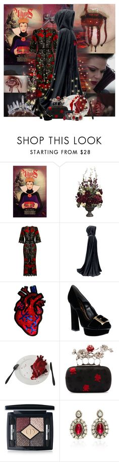 """""""Evil Queen's Dress"""" by lady-redrise ❤ liked on Polyvore featuring Once Upon a Time, Disney, Dolce&Gabbana, Alexander McQueen, Christian Dior, Amrapali and MAKE UP STORE"""