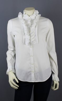 J. Crew White Cotton Long Sleeve Victoria Ruffled Blouse Size 2 #JCrew #ButtonDownShirt #Career