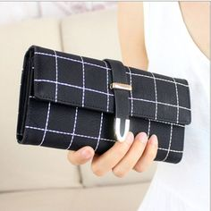Women PU Leather Plaid Wallet Three Folds Frosted Card Holders Casual Clutch - Gchoic.com #bags #women #fashion #discount #popular #purse #handbags