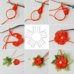 "5 petals cluster flower free pattern with picture tutorial and chart – Artofit Big crochet poppy free pattern step by step – Artofit The difference is in the details easy crochet flowers bows – Artofit maria-cro: "" pattern for the cute flowers :) Col Crochet, Crochet Lace Collar, Crochet Video, Crochet Diy, Irish Crochet, Crochet Motif, Crochet Crafts, Crochet Projects, Diy Crafts"