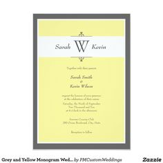 Grey and Yellow Monogram Wedding Invitations