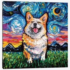 Starry Night Art, Pembroke Welsh Corgi, Artwork Display, Dog Art, Dog Pictures, Canvas Art Prints, Original Paintings, Corgis, Yorba Linda